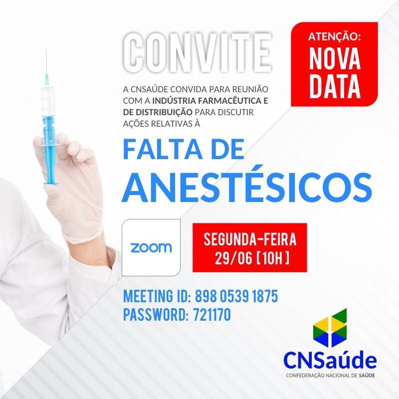 Reunião online discute a falta de anestésico nos hospitais